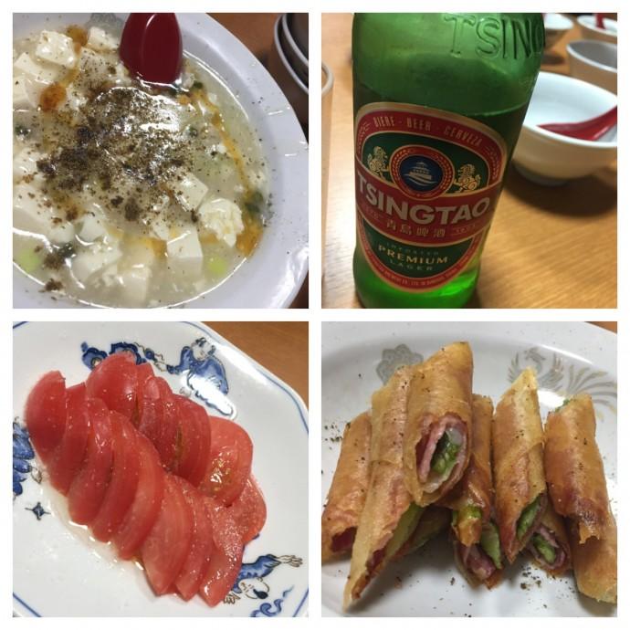 白、ビール、トマト、アスパラベーコン